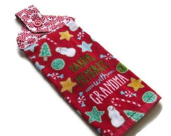 Ready To Ship - Hanging Christmas Kitchen Towel - Baking Memories With Grandma Hanging Towel - Fabric Top Christmas Towel - Tab Top Towel