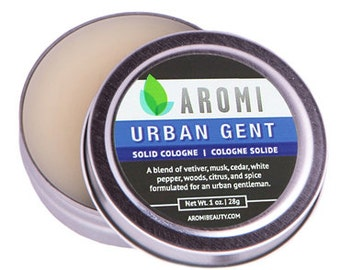 Urban Gent Solid Cologne, Men's Fragrance, Travel Cologne, Alcohol Free Cologne, Balm and Salve, Mustache Wax, Gift for Him, Skin Care