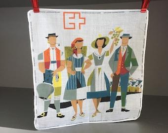 Vintage SWISS Cotton Exposition Nationale 1964 Modernist Handkerchief  Switzerland Lawn Handkerchief