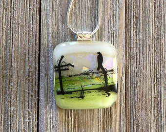 Bird on a Wire, Dichroic, Fused Glass, Pendant, Square, Square Dichroic Pendant, Necklace, Silver Plated, Chain Included, Free Shipping - 34