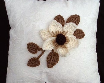 Crochet FLOWER PATTERN, MAGNOLIA, leaves, crochet pattern, applique, trims, Crochet Flower Applique Sewing and Knitting embellishments, CF01