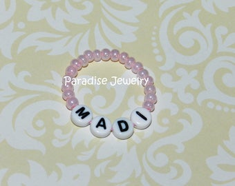 Baby Girl Bracelet Personalized Newborn Retro Style Pink Baby ID Bracelet Baby Jewelry 1st Photos Vintage Inspired Beaded Baby ID Bracelet