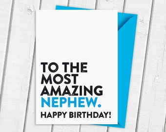 Amazing Nephew | Most amazing Nephew | Card for Him | Special Card | Birthday Card | Blue Cards | Comtemporary Card | Typographic Card