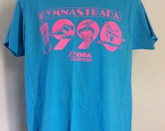 Vtg 1990 Gymnastrada T-Shirt Blue L Screen Stars 50/50 90s Gymnastics