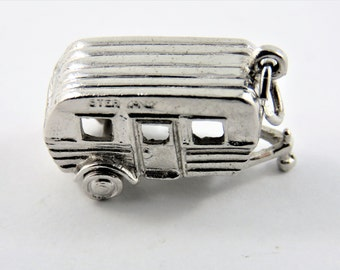 Camper Trailer with Hitch and Wheels Sterling Silver Pendant or Charm.