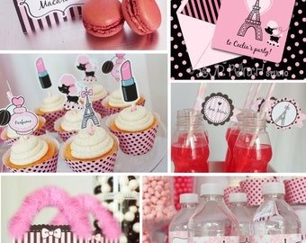 INSTANT DOWNLOAD, Pink Parisian Glaml Birthday Printable Party Package, You Edit Yourself in Adobe Reader