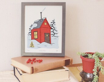 Snow Day - Limited Edition Illustrated Cabin Screen Print