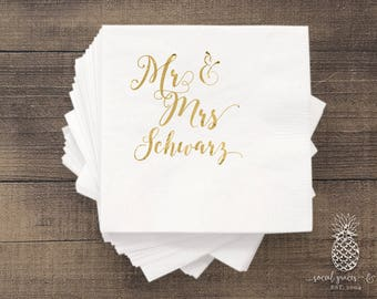 Cheers Wedding Napkins   Customizable Cocktail Napkin   Weddings   Bridal Showers   Engagement Parties   Mr and Mrs Hot Stamped Foil