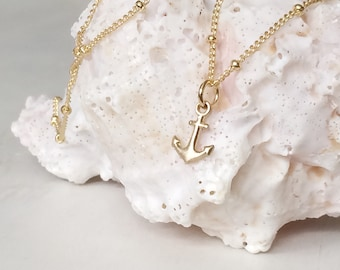Hebrews 6:19 hope anchors the soul tiny anchor charm necklace in gold