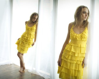 The Canary Dress Made to Order in Layered Silk Chiffon Reserved for Laila