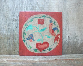 Vintage Hand Painted Hex Sign / Pennsylvania Dutch Hex Sign / Folk Art / Rustic Primitive Decor