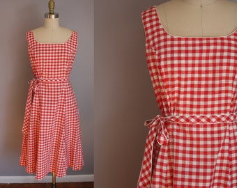 1950s Red Gingham Dress // Small
