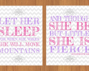 Let Her Sleep For When She Wakes And Though She Be But Little She is Fierce Nursery Wall Art Purple Pink Grey Chevron 2- 8x10 Prints (35)