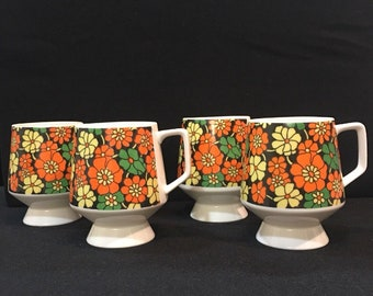 VINTAGE 1970's Flower Power Fine China Coffee Cups/Mugs 3-15 Set Of 4