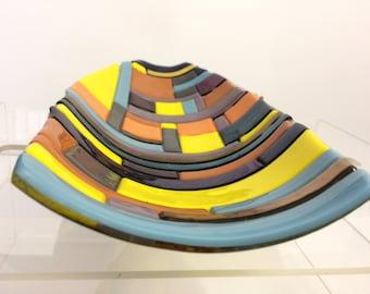 Elongated bowl, colorful bowll, Art bowl, fused bowl
