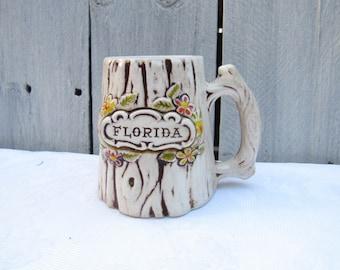 Treasure Craft Souvenir Mug, Florida coffee mug, Cyprus Tree Florida Mug, Tourist Coffee cup, Tree bark faux wood decor, Florida State gift