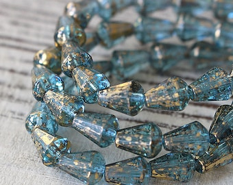 8x6mm Glass Drop Beads  - Long Drill Faceted Tear Drop - Jewelry Making Supplies - 6x8mm Drop - Aqua With Gold Dust - 10 Beads