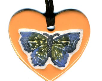 Butterfly Love Heart Ceramic Necklace in Orange