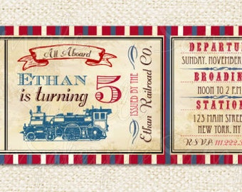Train Ticket Invitations, Train birthday party invitations