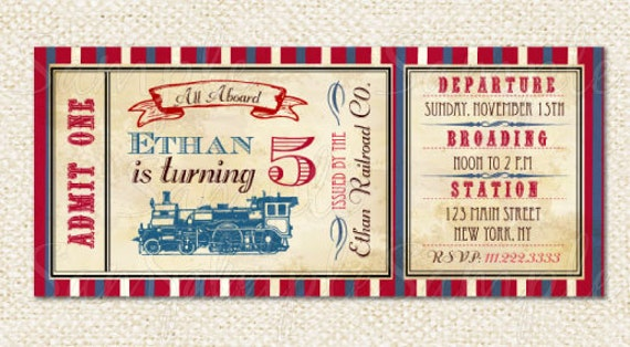 Train Ticket Invitations Train birthday party invitations