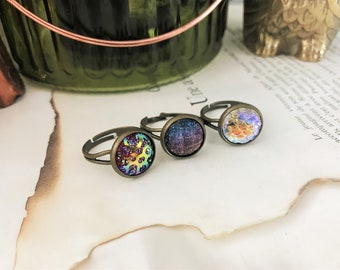 Set of 3 Rings - Dragon or Mermaid Scale, Galaxy & Holographic w/ Druzy - Antique Brass and adjustable