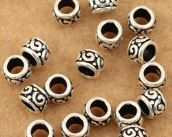 10pcs 5mm 925 Sterling Silver Tiny Tube Mala Beads / Findings / Spacer, Antique Silver Beads