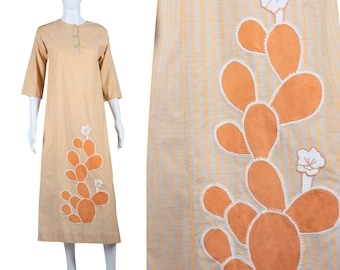 Cactus Applique Caftan 70s Cotton Maxi Dress 1970s Caftan Dress Boho Hippie Dress Festival Dress Desert Theme