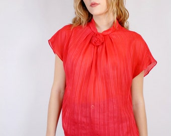 Strawberry red sheer striped burnout cap sleeve blouse with rosette 1990s 90s VINTAGE