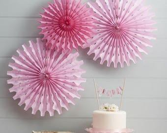 Pink Tissue Hanging Fan Decorations , set of 3, hanging fan honeycomb, use many times