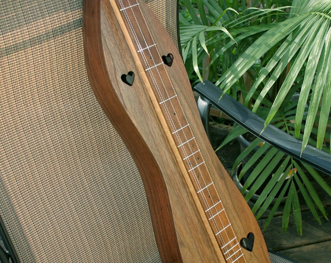 Walnut Mountain Dulcimer, 4-string, Custom Case, and sound-hole choices, with Optional Electric