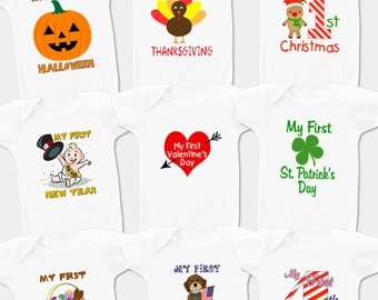 Set of Nine Holiday Onesie Gift Set -  Makes A Great Gift!
