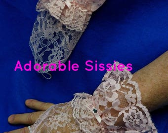 Pink Vintage inspired lace finger less vintage  perfect for Sissy Girls and Cross  Dressers  perfect for Sissy Dresses  ABDL  gloves