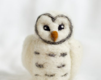 Needle Felted Snowy Owl Wool Ornament