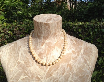 18 Inch Strand Knotted Faux Pearls With Sterling Silver Clasp Vintage