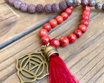 Root Chakra Red Coral Mala Necklace