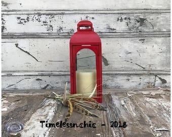 Metal Hanging Lantern Terrarium Hanging Candle Lantern - Large Lantern - Rustic Lantern - Red Hanging Lantern - Patriotic Decor - Lantern