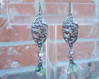 Oval Gunmetal Beaded Earrings