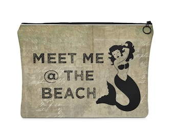 Meet Me At The Beach Carry All Pouch  Flat