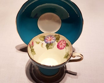 Vintage Anysley / Turquoise Blue Morning Glory / Corset Shape Tea Cup