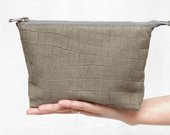 soft leather clutch leather makeup bag Leather Cosmetic Bag Toiletry Bag Gray Leather Cosmetic Case Leather Make up Bag leather pouch purse