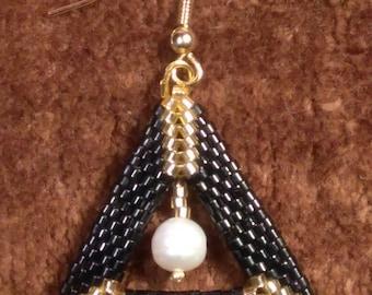 EARRINGS,  Black & Gold Delica Cylinder Beads  Pearls Peyote Herringbone Triangle