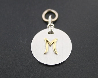 """18kt yellow gold / sterling silver """"M"""" charm"""