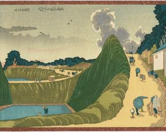 """Japanese Ukiyo-e Woodblock print, Hokusai, """"Sight as Ushigafuchi, Kudan"""""""