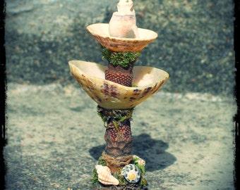 Faery Garden Fountain, in seashells and natural materials, custom order, mermaid, faery, Waldorf, seaside, fairy garden, creative play