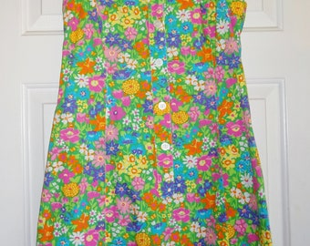 Vintage Lilly Pulitzer Dress Size 8 Floral Cotton Dress Button 1/2 Front Collar