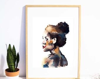 Fashion wall art downloadable prints / Fashion illustration printable wall art / Portrait watercolor painting