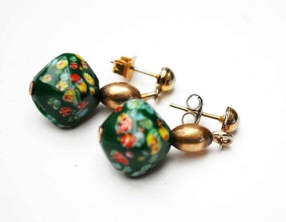 green Italian  Glass Bead Dangle Earrings  MILLEFIORI Gold brass Pierced earrings