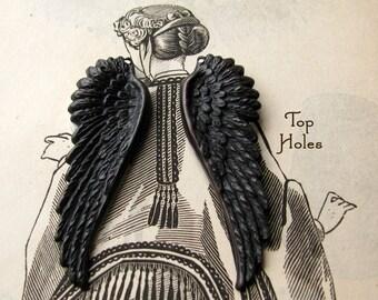 "Fallen Angel Brass Wings ""Seraphim"" drilled top holes (1 pair angel wing pendants) 53mm black oxidized patina, large, blackened brass"