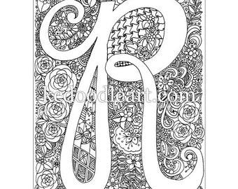 instant digital download, adult coloring book, letter R