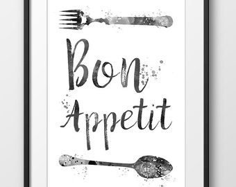 Kitchen Bon Appetit Black and White Print, Kitchen Typography Print, Watercolor Print, Kitchen Decor, Kitchen Art, Fork and Spoon (A0356)